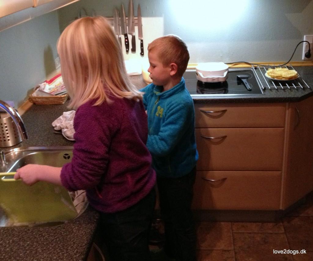 Børnearbejde - der skal vaskes op inden vi spiser dessert.