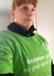 """Klar til Grevinde Dannerløbet i """"Den grønne"""" lockout-T-shirt."""