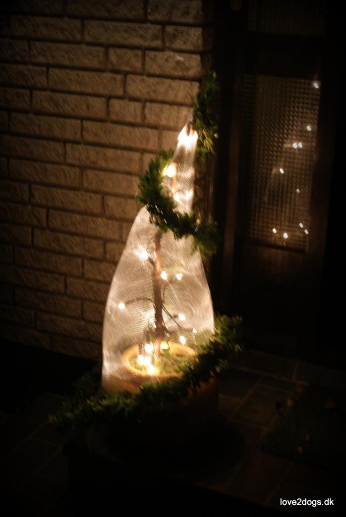 Udendørs juledekoration, der lyser op i mørket.