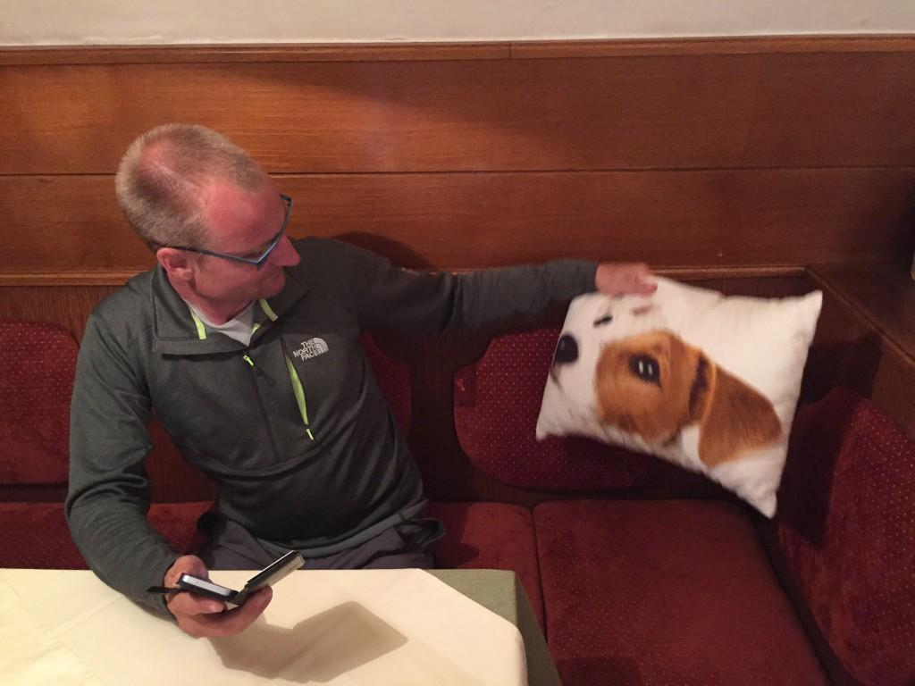 """Puderne i """"Stube"""" er dekoreret med hunde."""